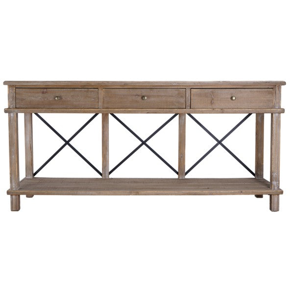 Metal Cross 3 Drawer Console