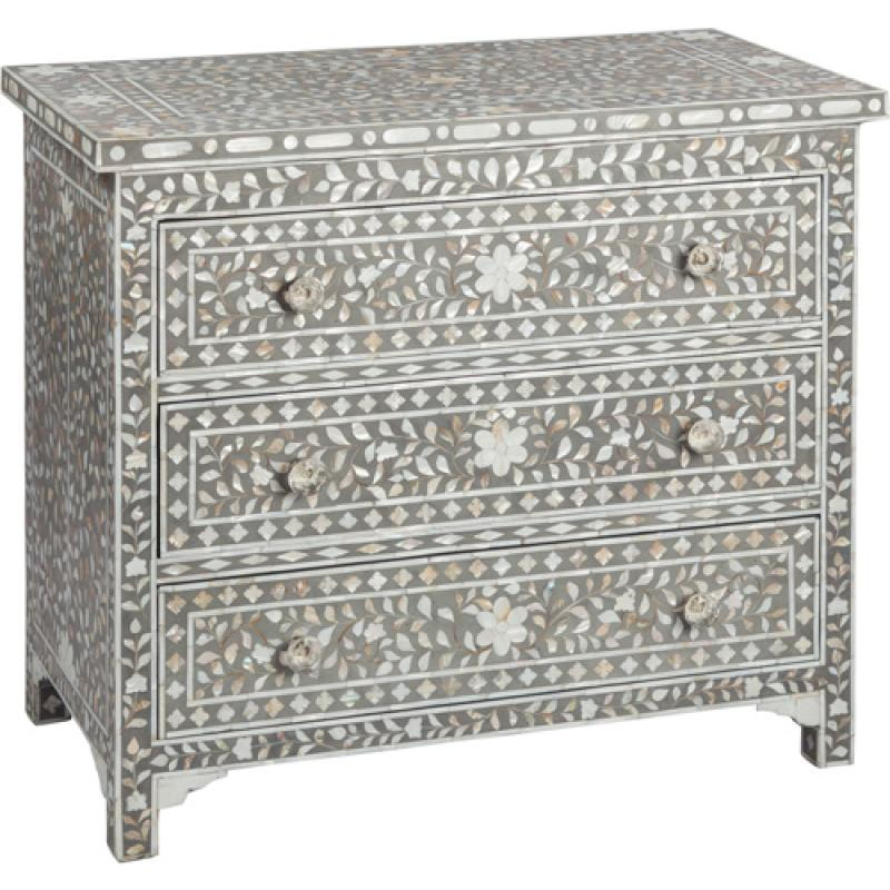 Samsara Floral Grey Mother of Pearl Inlay 3-Drawer Chest