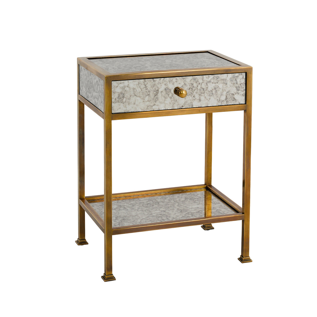Antique Mirrored Brass Plated 1 Drawer Side Table