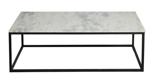 Black Coffee Table with Stone Top