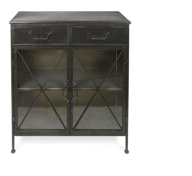 Metal Sideboard with Glass Doors