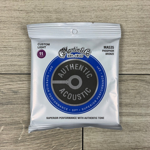 Martin MA535 Authentic Acoustic SP Phosphor Bronze Guitar Strings, Custom Light .011-.052