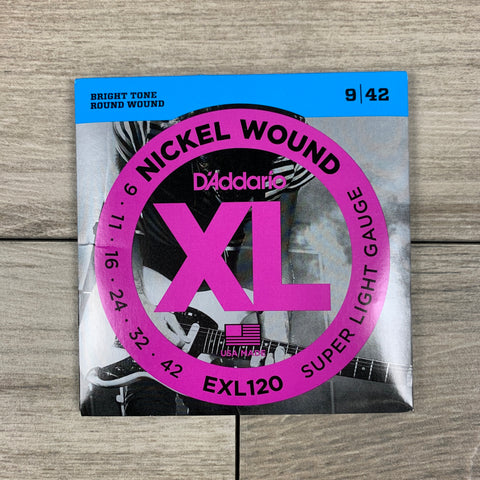 D'Addario EXL120 Nickel Wound Electric Guitar Strings, 09-42, Super Light Set