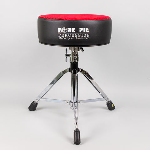 Pork Pie Round Drum Throne, Black Sides/Red Swirl Top