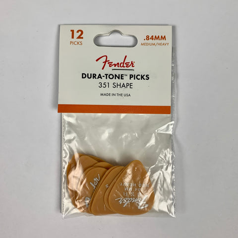 Fender Dura-Tone Delrin Pick, 351-Shape, Med. Heavy, 12-Pack, Butterscotch Blonde