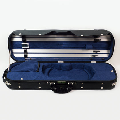 Howard Core CC525 4/4 Luxury Violin Case, Black with Blue Interior