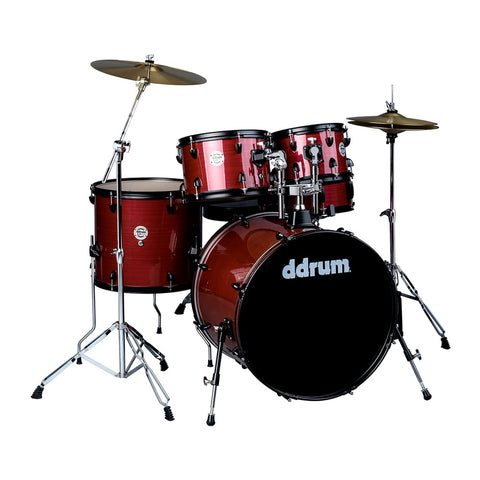 ddrum D2 Player 5 Piece Drum Set, with Cymbals, in Red Pinstripe