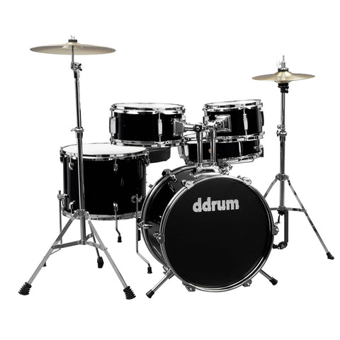 ddrum D1 Junior 5-Piece Drum Set, Complete with Cymbals, in Midnight Black