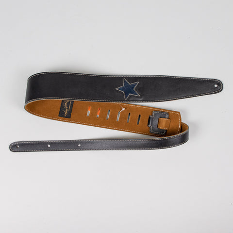 "Henry Heller 2"" Black Leather Guitar Strap with Dark Blue Stars"