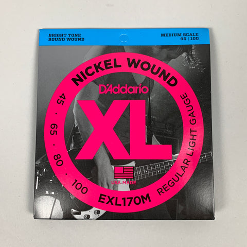 D'Addario EXL170M Nickel Wound Bass Strings, Medium Scale, 45-100