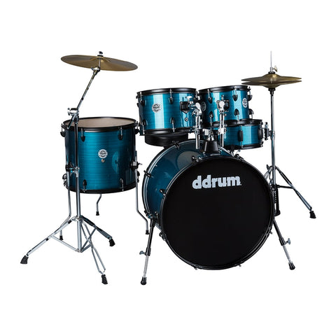 ddrum D2 Player 5-Piece Drum Set, Complete with Cymbals, Blue Pinstripe