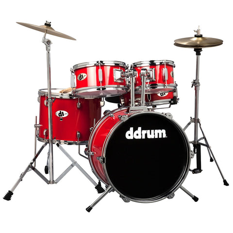 Ddrum D1 Junior 5-Piece Drum Set, Complete with Cymbals, in Candy Red