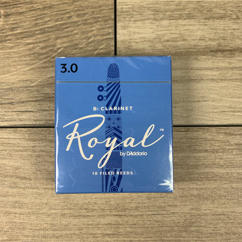 Royal by D'Addario Bb Clarinet Reeds, Strength 3.0 (Box of 10)