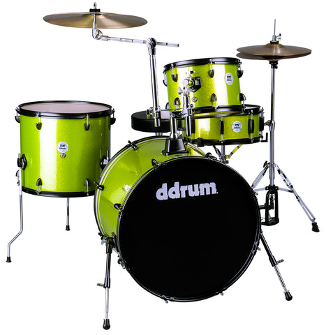 ddrum D2R Rock Series 4-Piece Drum Set w/Cymbals in Lime Sparkle