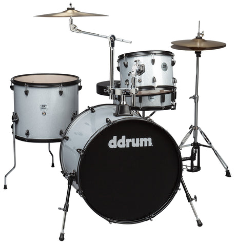 ddrum D2R Rock Series 4-Piece Drum Set w/Cymbals in Silver Sparkle
