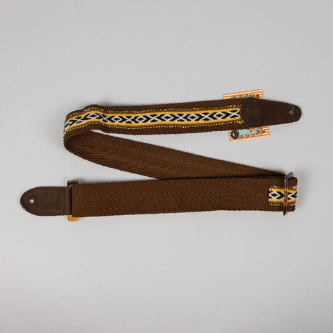 "Henry Heller 2"" Tort-O Herringbone Brown & Yellow Cotton Guitar Strap"