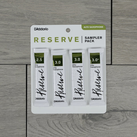 D'Addario Reserve Alto Saxophone Reed Sampler Pack, Strength 2.5/3.0/3.0+ (Pack of 4)