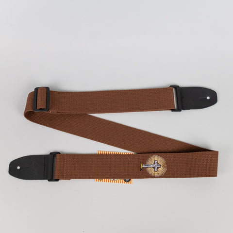 "Henry Heller 2"" Cotton Guitar Strap with Embroidered Design, Brown"