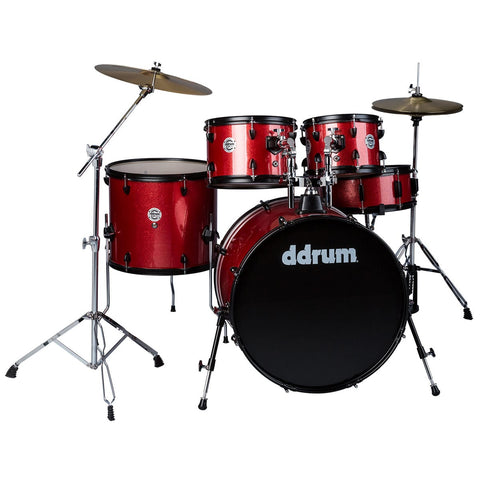 ddrum D2 Player 5-Piece Drum Set with Cymbals in Red Sparkle