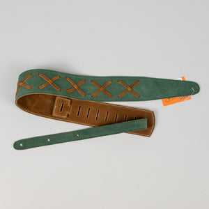 "Henry Heller 2"" Suede Guitar Strap with Leather X's, Kelly Green"