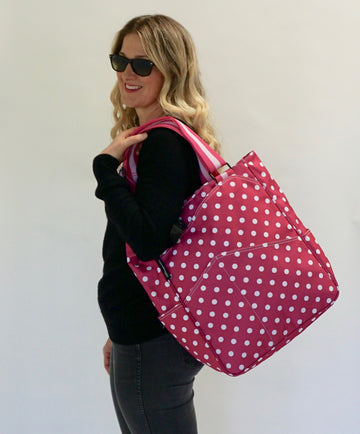 Tennis Tote in Fuchsia Dots