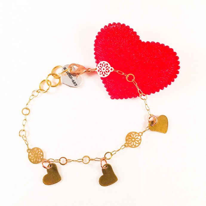 Triple Bronze Heart Charms Bracelet with 18kt Gold Plated Flower - shopawura