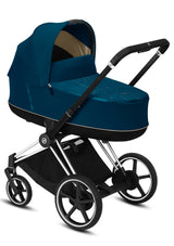 e-Priam Kinderwagen-Set Chrome Black / Mountain Blue