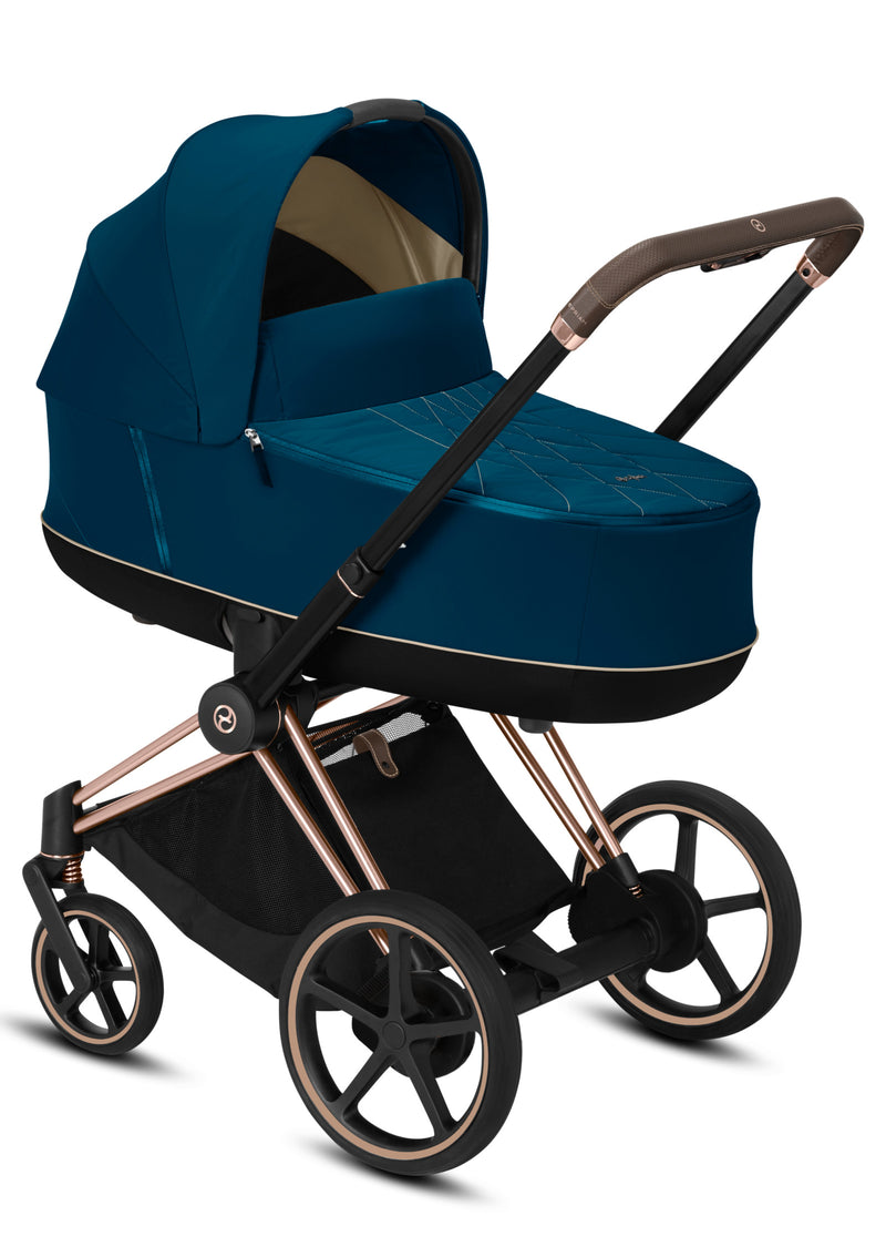 e-Priam Kinderwagen-Set Rosegold / Mountain Blue