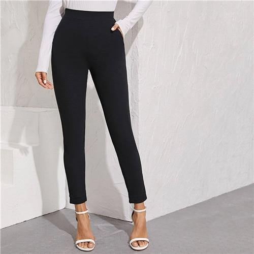 Solid Elastic Waist Pocket Side Split Hem Elegant Pants - Clothing-women  Betaalbare Kleding dames online Antwerpen