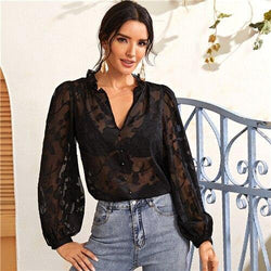 Ruffle Trim Buttoned Front Appliques Mesh Top - Clothing-women  Betaalbare Kleding dames online Antwerpen