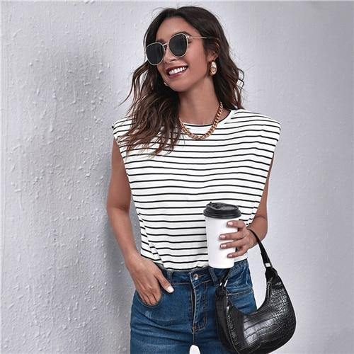 White Striped Padded Shoulder Tank Top - Clothing-women  Betaalbare Kleding dames online Antwerpen