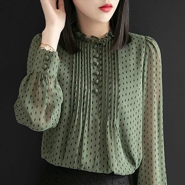 Women Autumn Style Chiffon Blouses Shirts - Clothing-women  Betaalbare Kleding dames online Antwerpen