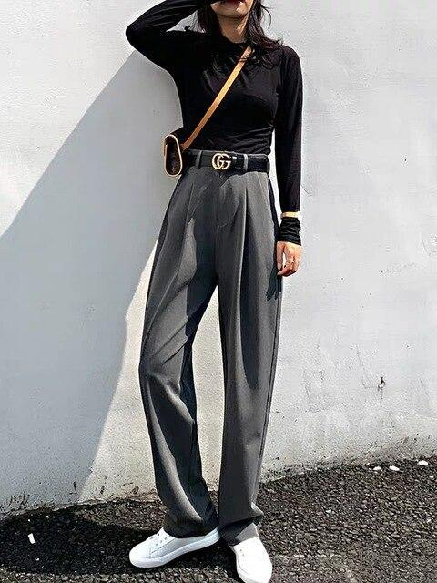 Chic High Waist Loose Straight Pants - Clothing-women  Betaalbare Kleding dames online Antwerpen