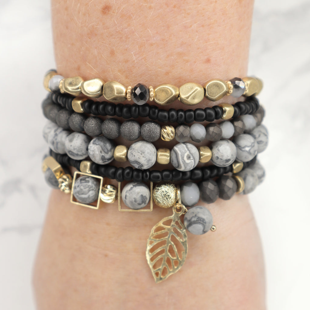 The Alice Stacked Leaf Bracelet - Jet Black/Natural
