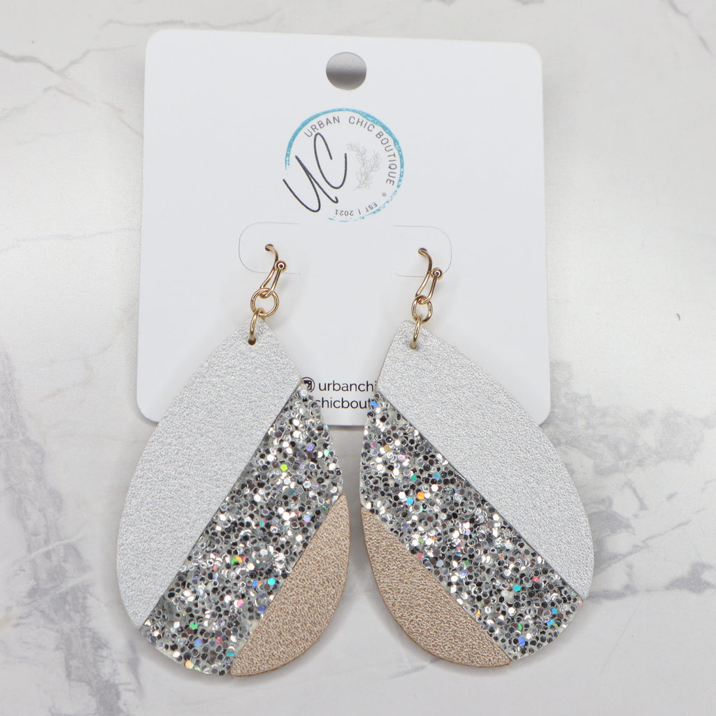 The Arlie Leather Earrings - Gold/Silver