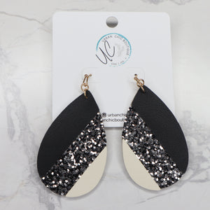 The Arlie Leather Earrings - Gold/Black