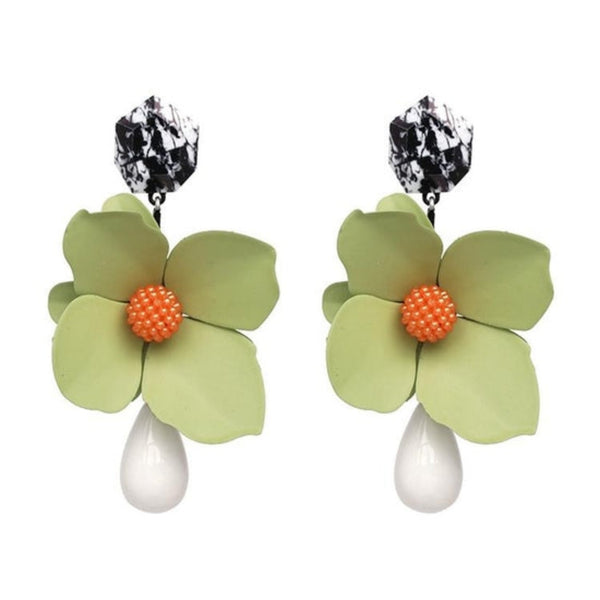 Floral Enamel Statement Earrings