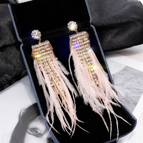 Pink Rhinestone and Feather Earrings