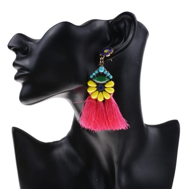 Pink and Multicolor Tassel Earrings