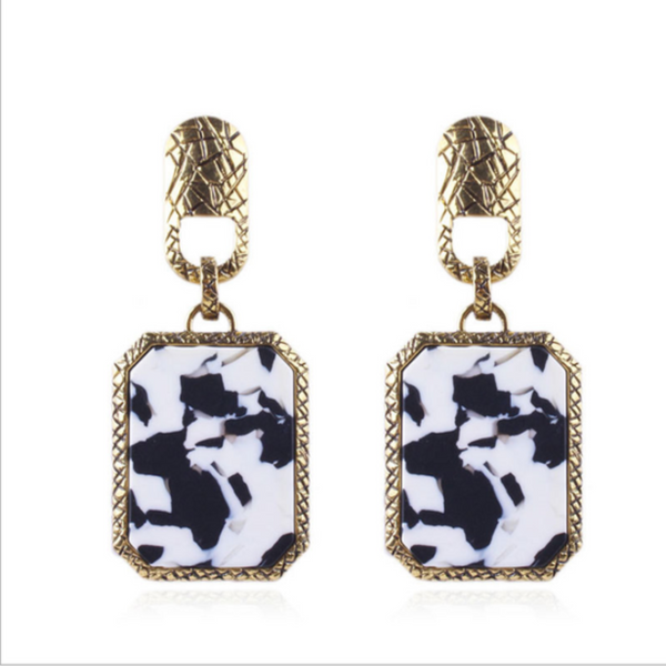 Speckled Black & White Earrings