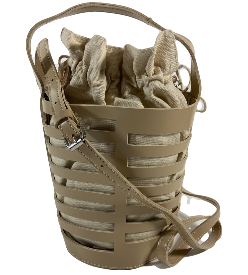 Mini Cutout Bucket Bag with Drawstring Pouch