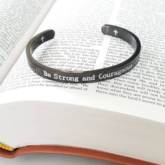Expressions Bracelets - Be Strong and Courageous Black Metal Cuff