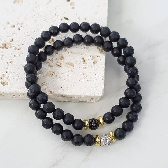 Expressions Bracelets - Pave Black Beaded Skinny Stacking Bracelet