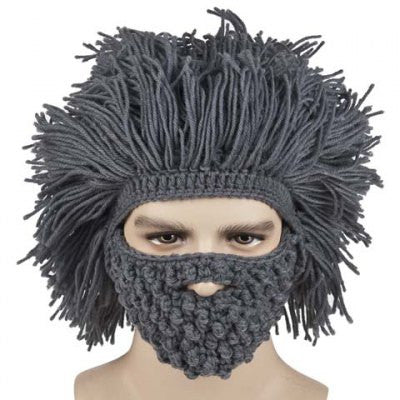 Beard and Afro Hair Shape Design Knitted Hat For Men