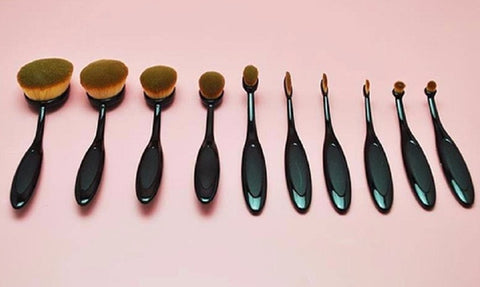 10 pc Oval Makeup Brush Set