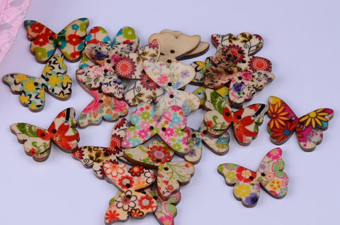 50 or 100 Butterfly-Shaped Painted Buttons