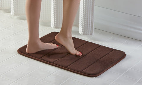 2 pcs Memory Foam Bath Mats Brown