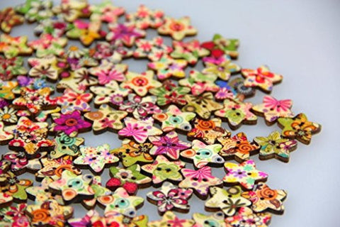 50 or 100 Star-Shaped Painted Buttons