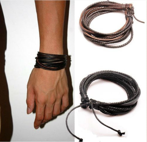 2 Pcs Multilayered Genuine Leather Unisex Wrap Bracelets with Braided Rope