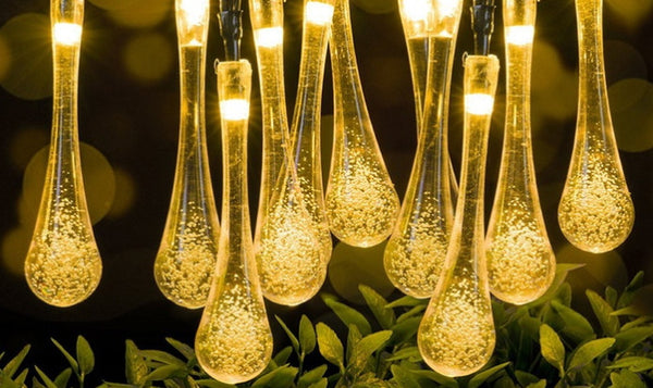 20 Lamps Solar Raindrop String Fairy Lights